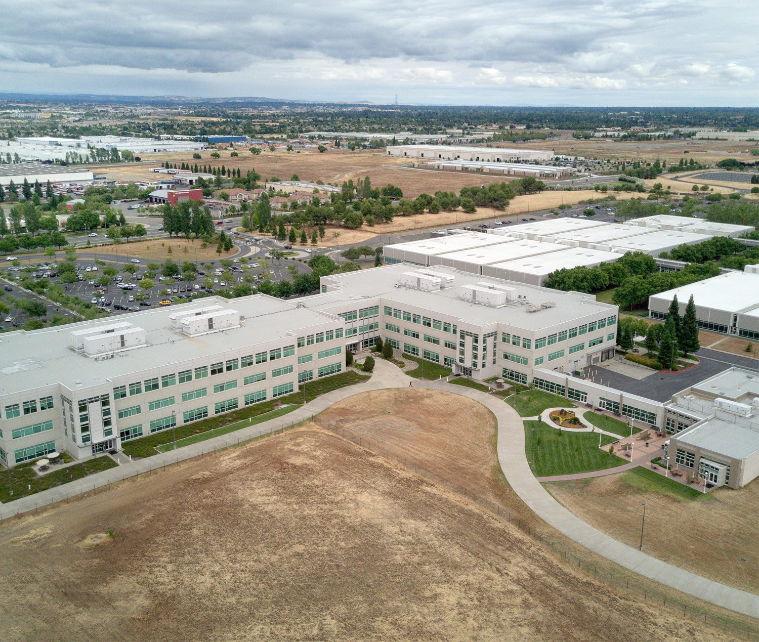 Areal photo of Roseville California offic building owned by Chad Williams