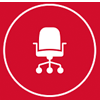 Icon vector drawing of office chair representing commercial interiors